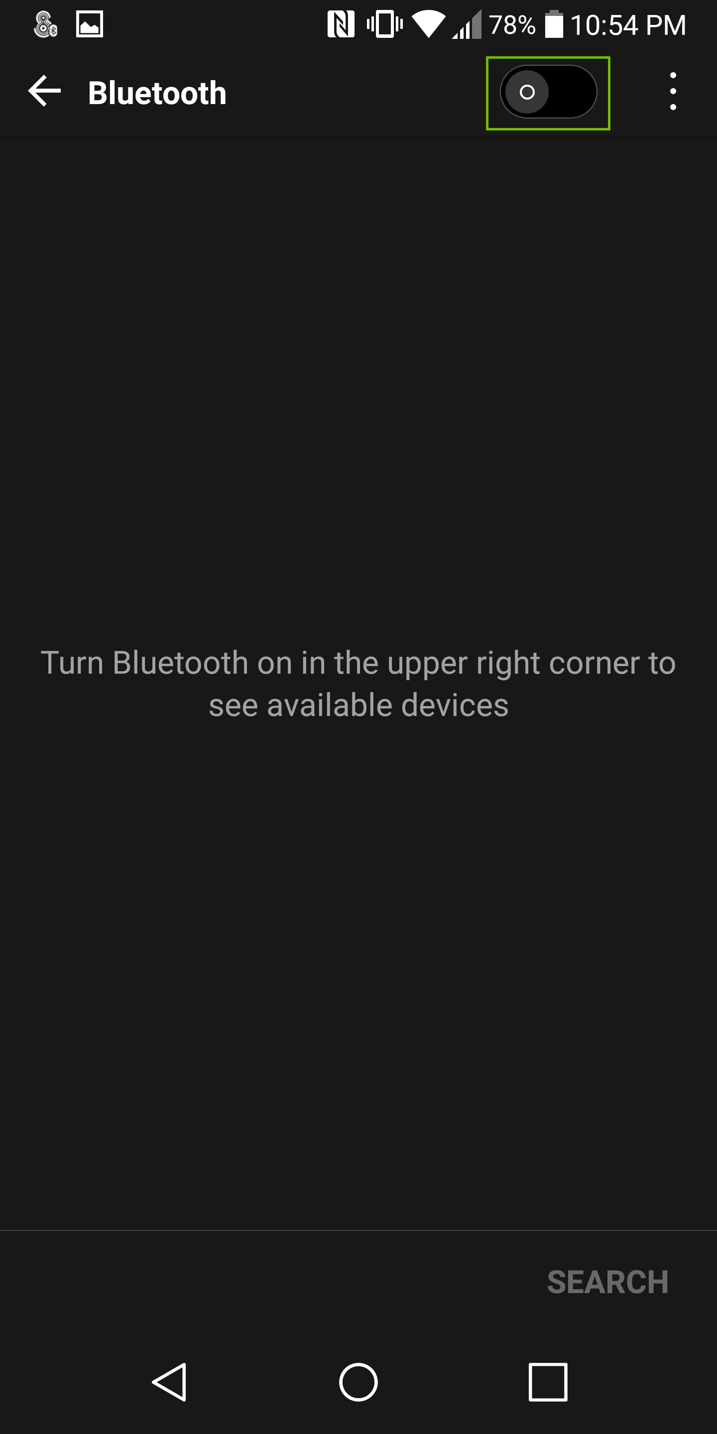 Android bluetooth options with on off switch highlighted