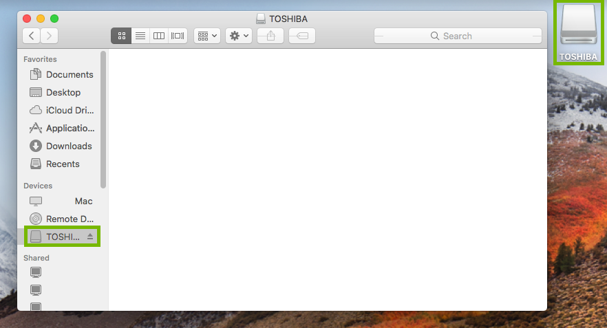 Finder window highlighting the external storage