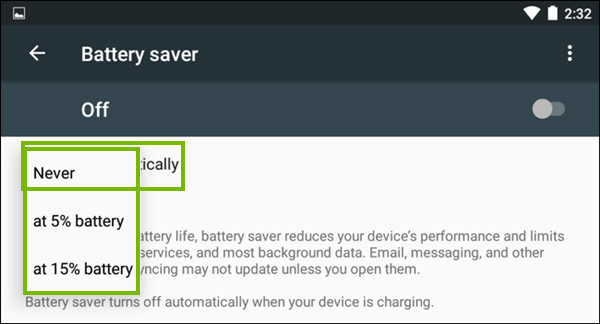 Selecting when battery saver is toggled