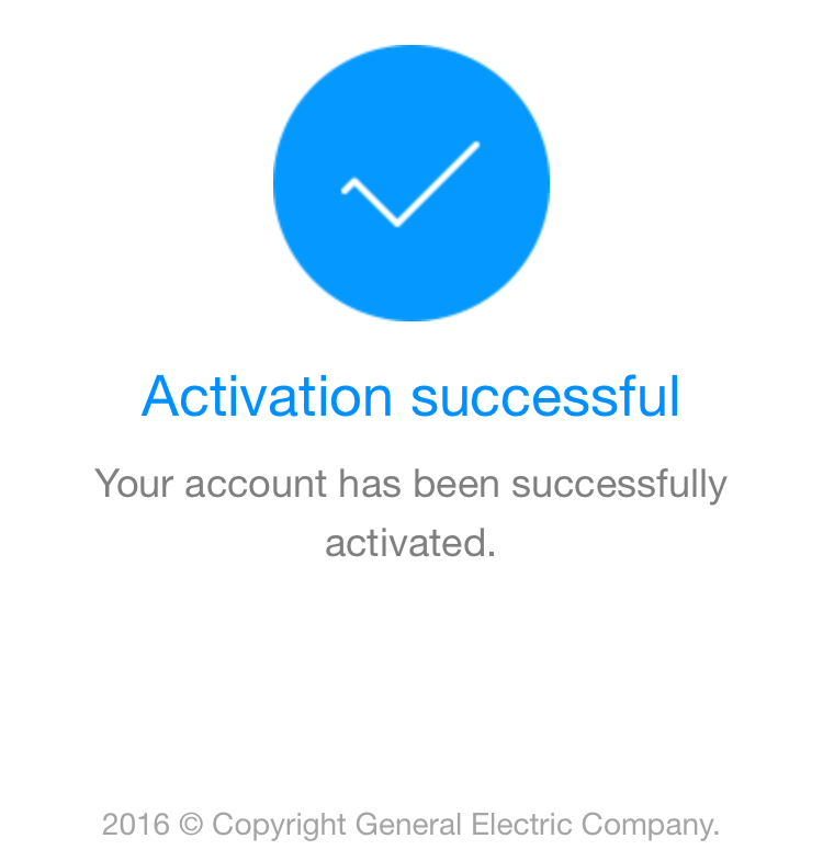 Activation successful checkmark.