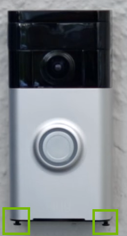 Doorbell with security screws at bottom highlighted