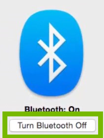 Bluetooth radio toggled OFF. Screenshot.