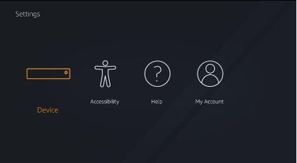 Fire TV Settings menu. Screenshot.
