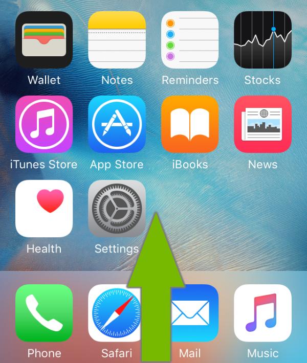 Arrow showing how to swipe on iOS screen.
