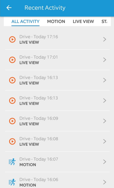 Device event history showing in Ring app.