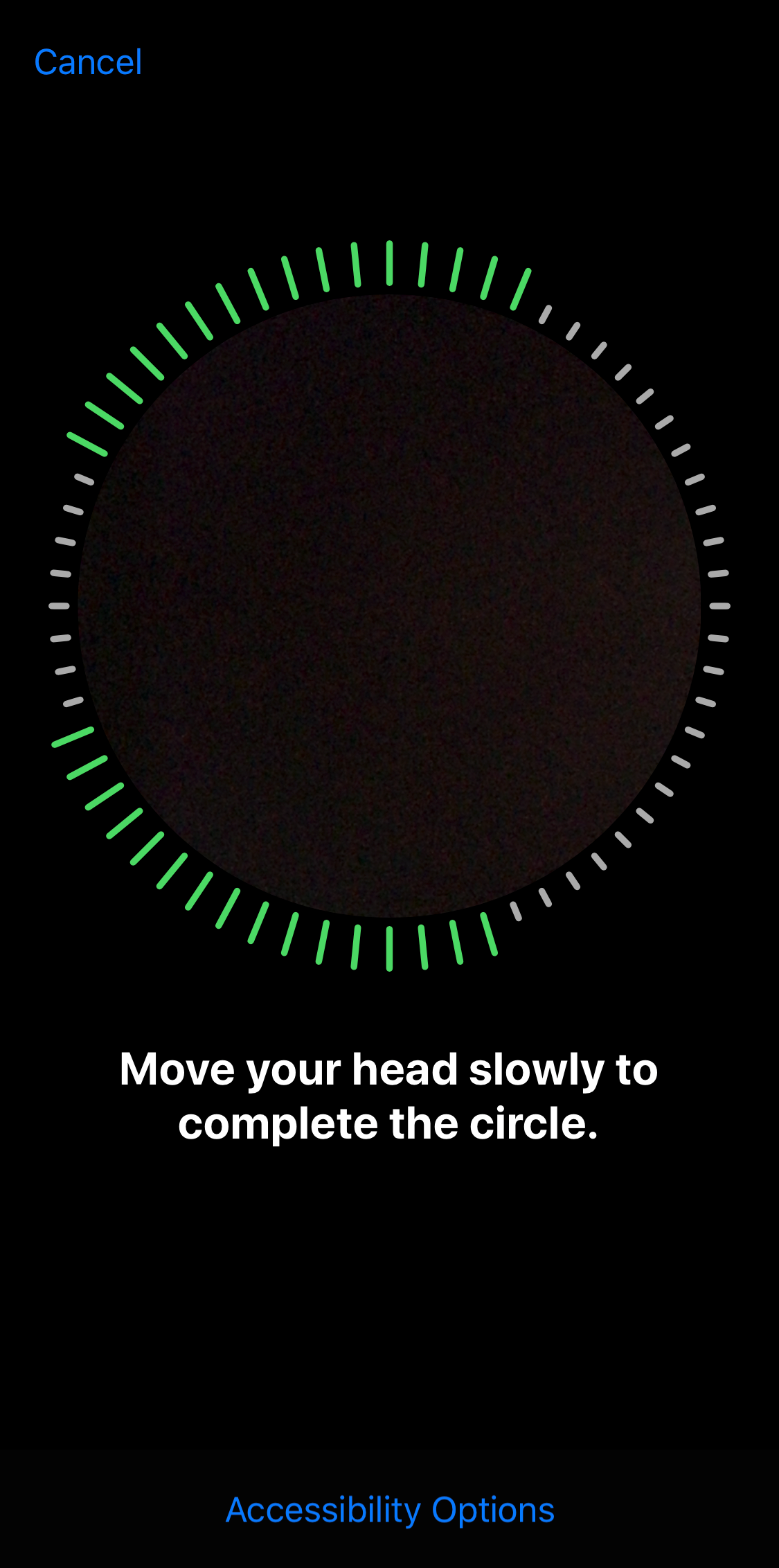 Face ID setup displaying face capture instructions.