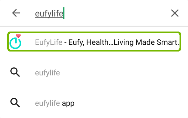 Play store search with EufyLife highlighted.