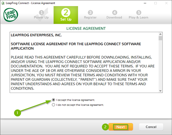 LeapFrog Connect installer where the user has accepted the license agreement with the Next button highlighted.