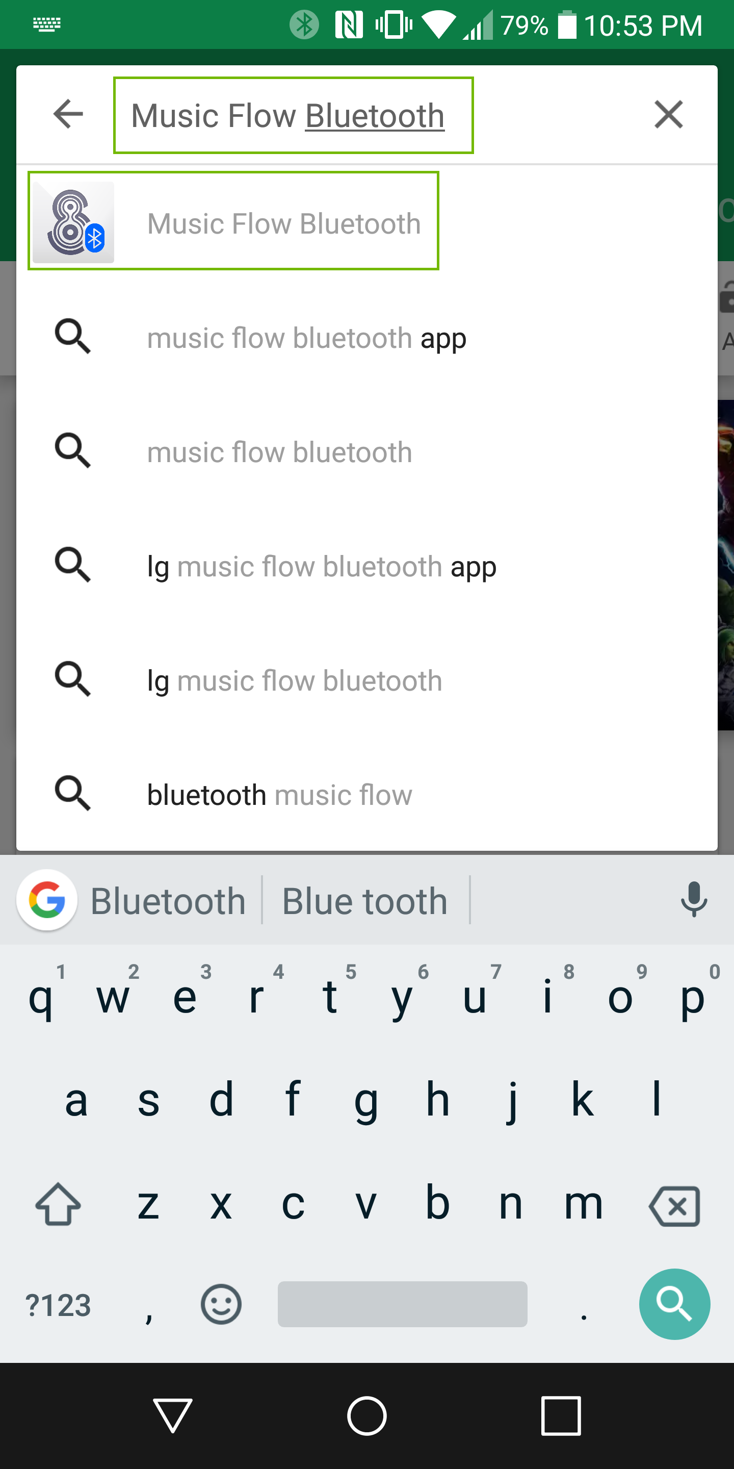 Screenshot of searching for music flow bluetooth with the search bar and app from quick search list highlighted