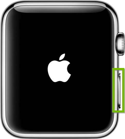 Side button highlighted on Apple Watch.