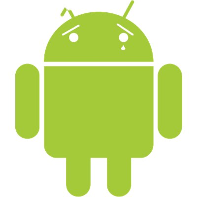 Sad android logo.