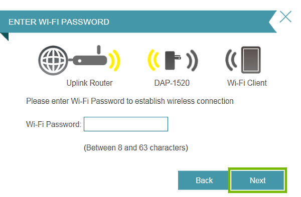 Next button highlighted on Wi-Fi entry prompt in connection setup wizard.