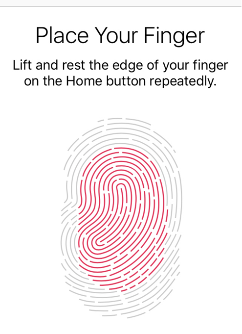 iOS image showing how to create a fingerprint