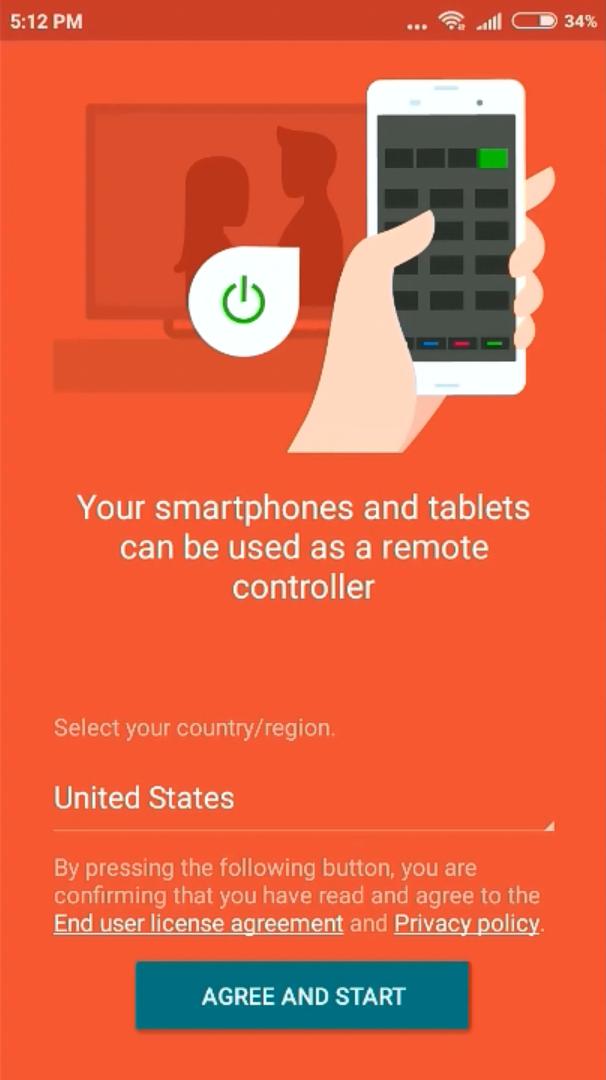 Mobile app greeting screen.