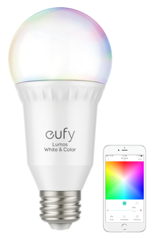 Eufy Lumos bulb with phone running the EufyHome app.