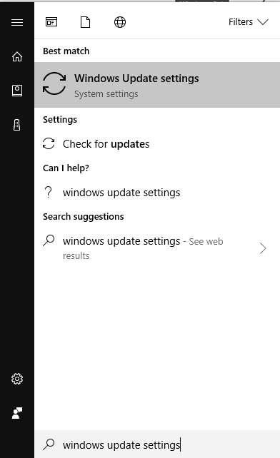 Windows 10 search box highlighting search results for windows update settings.