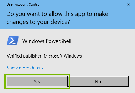 User account control dialog with yes highlighted.