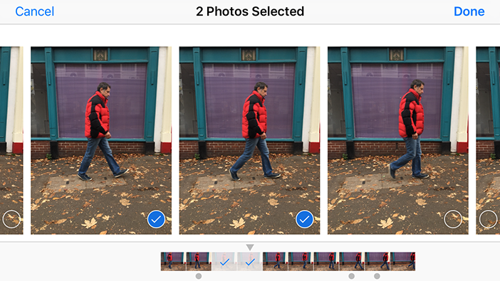 iOS burst mode selection image.