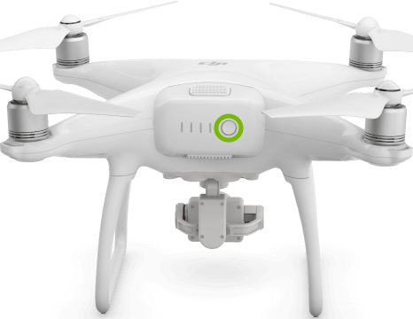 Power button highlighted on back of drone.