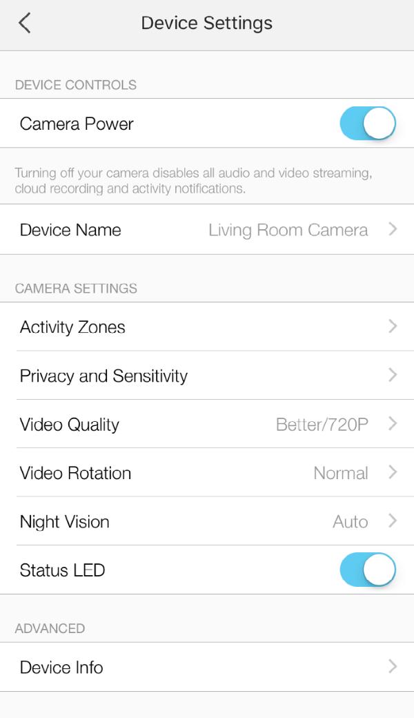 Device Settings screen in Kasa Smart app.