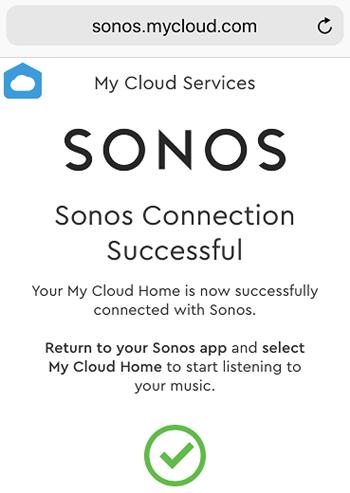 Sonos app showing successful connection