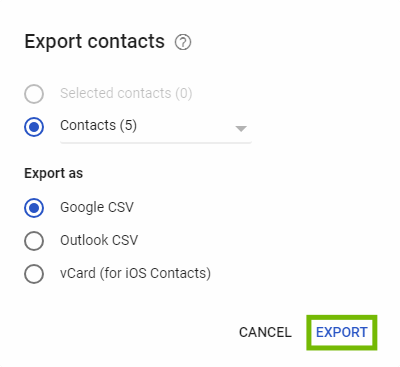 Export contacts dialog with Export highlighted.