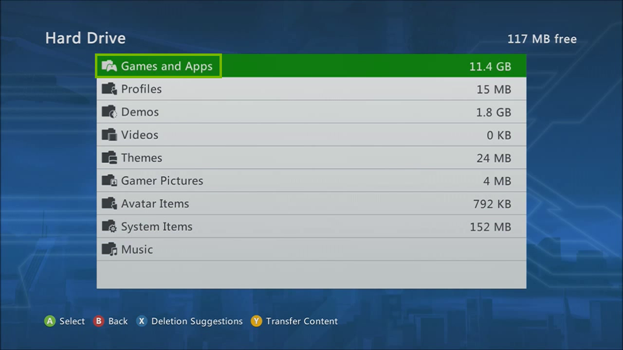 Hard drive with Games and Apps selected. Screenshot.