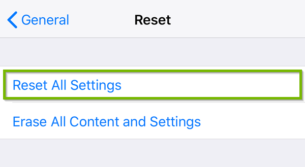 Reset settings with Reset All Settings highlighted.