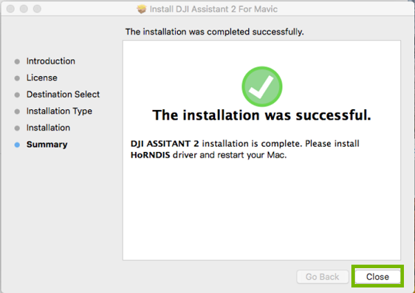 Installer finished, with Close highlighted. Screenshot