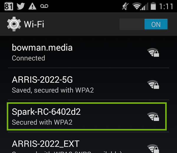 Android Wi-Fi list with Spark RC highlighted.