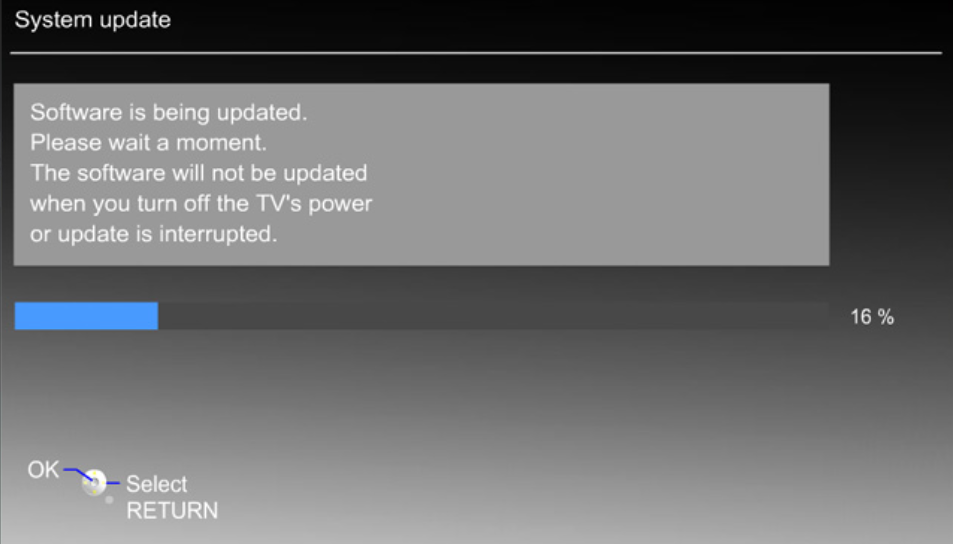 Panasonic TV system update menu performing an update.