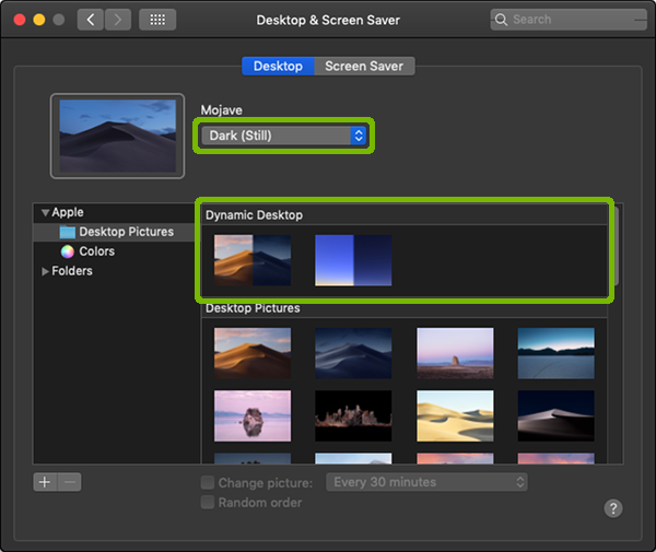 Display and Screen Saver Preferences with Dynamic Desktop and type highlighted.
