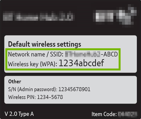 Default Wi-Fi credentials highlighted on router / gateway sticker.