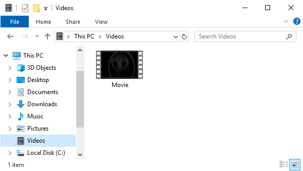 File Explorer showing Videos folder.