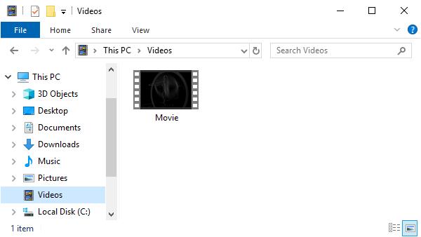 File Explorer showing Videos folder.