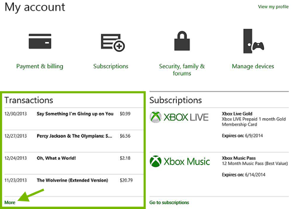 Transactions area highlighted and More option pointed out in Xbox Account webpage.