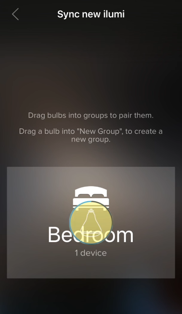 Light bulb being configured in ilumi app.