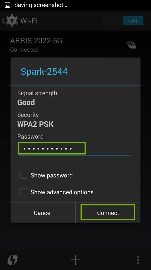 Wi-Fi password entry with Connect highlighted. Screenshot