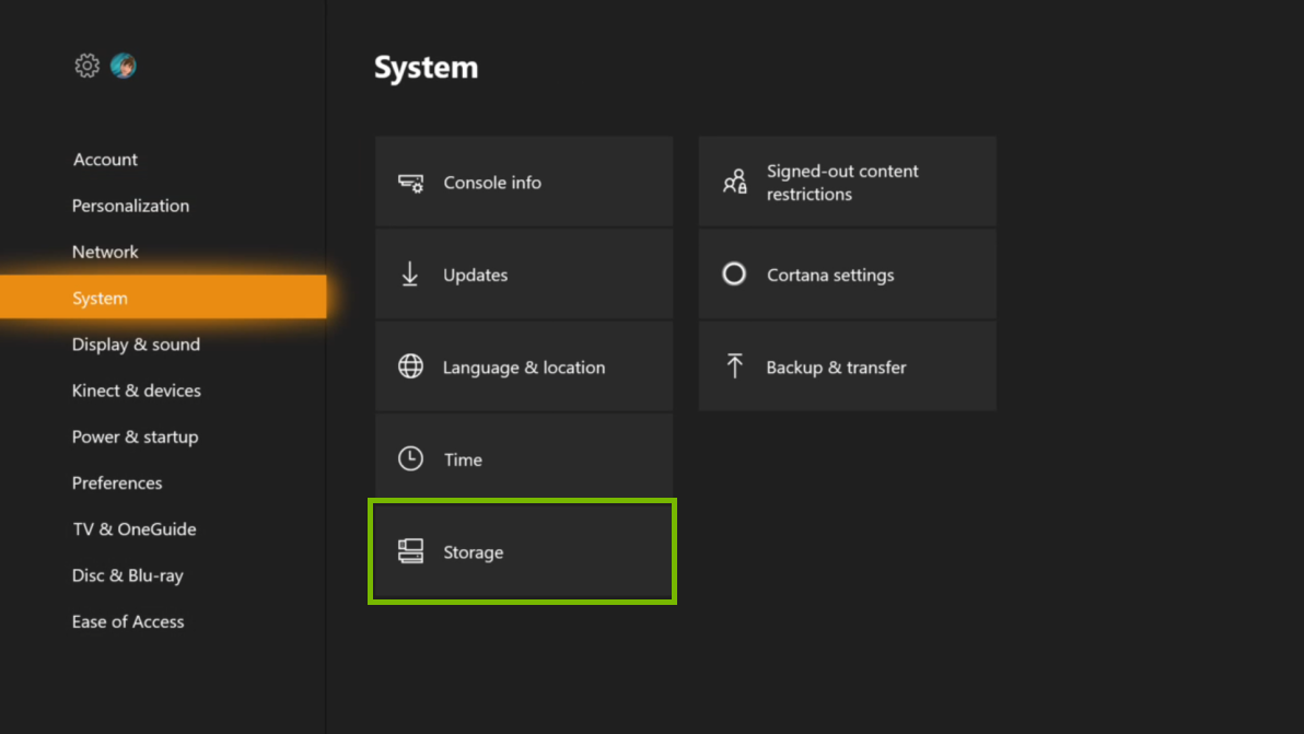 System menu with Storage selected. Screenshot.