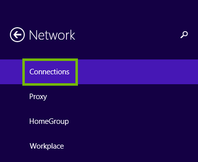 Network Settings with Connections highlighted.
