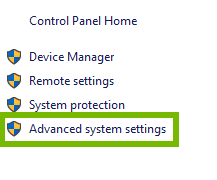 Advanced system settings link