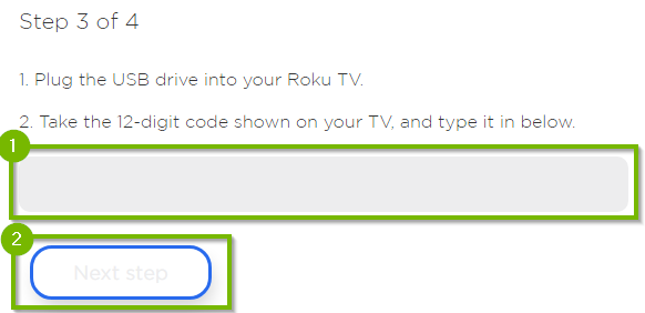 Entry box for code displayed on TV.