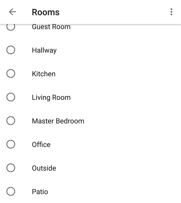Assigning a device to a room.