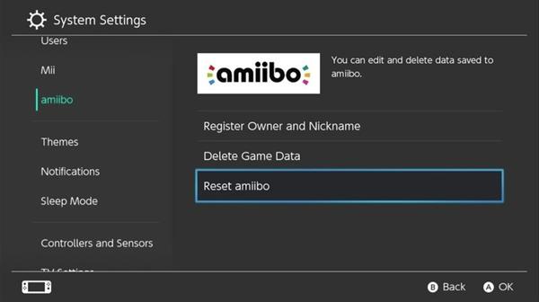 Nintendo switch amiibo settings
