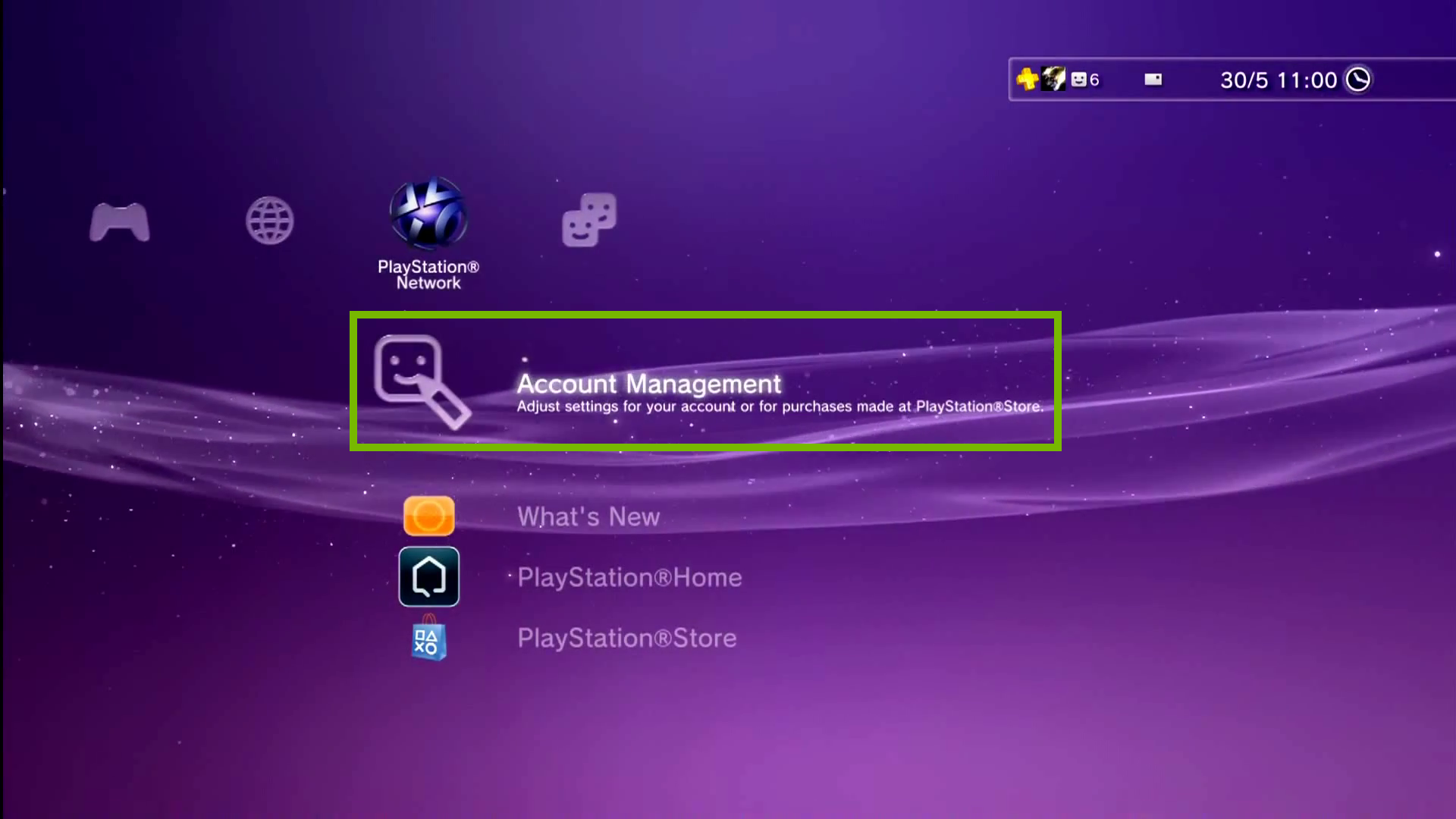 PlayStation Network menu with Account Management selected. Screenshot.
