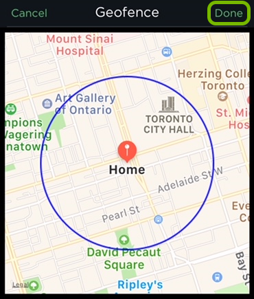 Done option highlighted in Geofence settings of ecobee app.