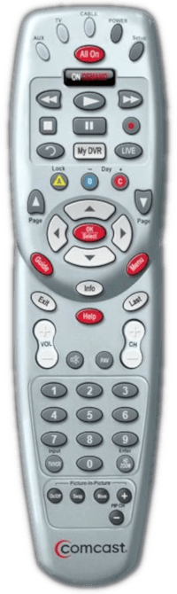 Comcast Silver with Red OK button Remote