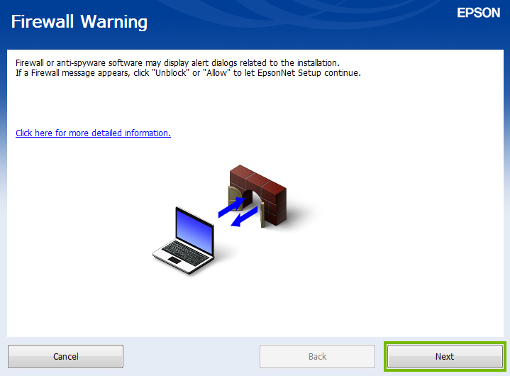 Firewall Warning screen.