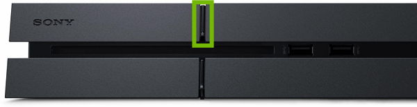 Front of PlayStation 4 with Power button highlighted.