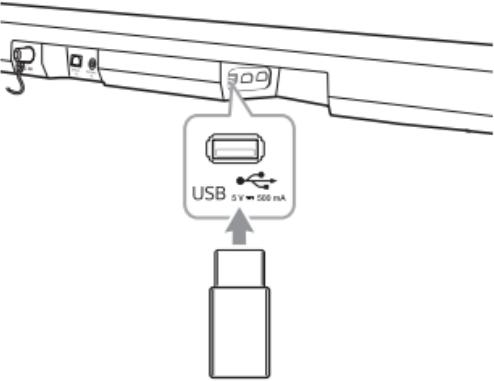 Diagram of the USB port on the soundbar.